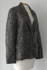 COLDWATER CREEK Black ,White and Dark Gray Tweed Look Lined BLAZER Size 16