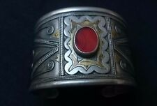 Rare Antique Wide Silver, Gilding and Carnelian Bracelet (Cuff)