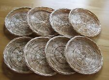 Rattan Wicker Straw Set of 8 Paper Plate Holders Picnic Camping 9 1/2""