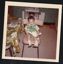 Vintage Photograph Little Boy in Green Holding Easter Bunny in Retro Kitchen '69