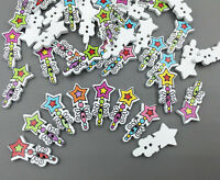 DIY 100PCS Cartoon Magic wand shape Wooden Buttons sewing scrapbook craft 24.5mm