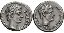 AUGUSTUS AND AGRIPPA, 13 BC. DENARIUS 3.95G GUARANTEED AUTHENTIC VERY RARE & EF