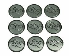 "100 Silver Double Hearts Print Wedding Round Envelope Seal Stickers 1"" Diameter"