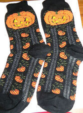Estate Halloween Stretch Socks, Black Socks with Pumpkins Everywhere LOOK