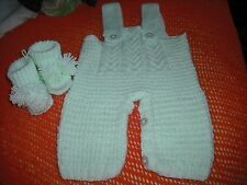 hand knitted baby green unisex playsuit with booties,0-3 months.