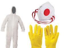 Schutz Kleidung Set 3-tlg Anzug Latex Handschuhe Staub Atemschutz Maske