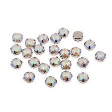 50 x Round 10mm AB Clear Sew on Resin MONTEES Rhinestones Diamantes Gems