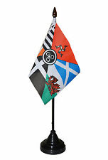 "CELTIC NATIONS TABLE FLAG 6"" x 4"" with pole ISLE OF MAN SCOTLAND CORNWALL EIRE"