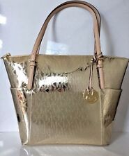 NWT Michael Kors Jet Set Signature Pale Gold Mirror Metallic East West Zip Tote