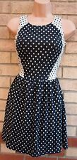 RIVER ISLAND GREY BLACK SPOTTY POLKA DOT SKATER FLIPPY A LINE VTG TEA DRESS 8 S