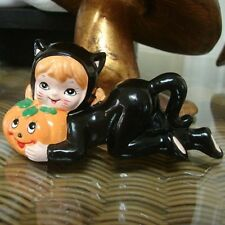 Vintage Lefton Halloween Kitty Cat Girl with Pumpkin Figurine & black outfit