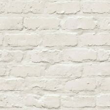 Realistic 3D Painted Brick Effect Wallpaper White/Cream Free Postage