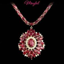 $14400 CERTIFIED 14K YELLOW GOLD 36.75CT UNTREATED RUBY 1.00CT DIAMOND NECKLACE