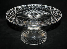 WATERFORD CRYSTAL ALANA PATTERN ROUND CAKE STAND, PEDESTAL CAKE PLATTER, MARKED