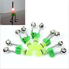 5pcs Sea Fishing Twin Rod Bells Green LED Tip Light Lure Bite Alarm Fishing LA