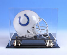 Mini Helmet Display Case Acrylic with Black Acrylic Base and Gold Risers