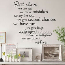 Removable Art Vinyl Quote Wall Sticker Decal Mural Home House Rules Family DIY