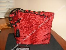 AUTH CHANEL DARK RED PERSIAN LAMB FUR SHOULDER BAG NEW