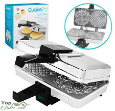 Taditional Pizzelle Baker Electric Waffle Maker Polished Cone Cookie Iron Press