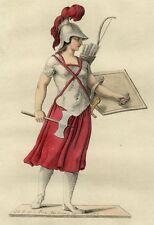 Grèce Costume Guerrière Amazone Greece Amazon Warrior Arc Armes Bar gravure 18e