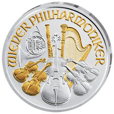1 Unze Silber Wiener Philharmoniker 2017 Österreich vergoldet gilded