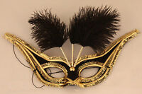 Black Feather Mask Masquerad Fancy Dress Costume Venetian Masked Ball Carnival