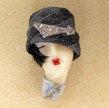 LADY HEAD FACE Porcelain-Look Resin Brooch Pin Flapper RS Glitzy Figural Glamour