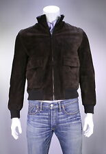 New! * KITON * Recent Brown Suede Bomber Jacket Coat Men's US 40/Medium