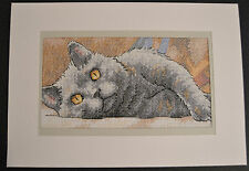 Extra Large Completed Cross Stitch Card - Max the Cat