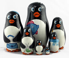 Penguin Matryoshka Russian Handmade Stacking Nesting Wooden Dolls in Dolls, 7pc
