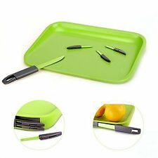 Cutting Board with Knife Mini Fork Set Non Slip Chopping Kitchen Portable Travel