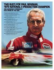 Budweiser Beer  *LARGE POSTER* Paul Newman DATSUN PORSCHE CAR RACING - MUST SEE