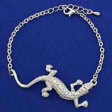 Lizard Iguana Gecko W Swarovski Crystal AB Color New Elegant Bracelet