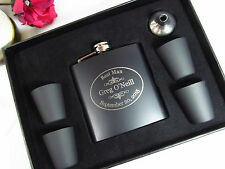 Personalized Flask Gift Set Groomsman Best Man Engraved Wedding Oval Style