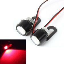 Motorcycle Red LED Mirror Decor Warming Strobe Flash Light License Plate 12V