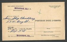 Ca 1955 P C SAVANNAH GA OFFICIAL CHANGE OF ADDRESS FORM POSTAGE DUE 3c