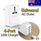 Travel Power Plug Universal Outlet Surge Protector +4 Ports USB Charger Max 2.4A