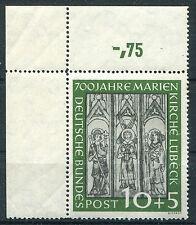Bund 139 postfrisch Eckrand Ecke 1 Marienkirche Lübeck BRD 1951 MNH