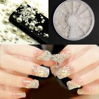 3D Nail Art weiße Perle Strass Glitter Acryl Nagel Tipps Sticker Dekoration
