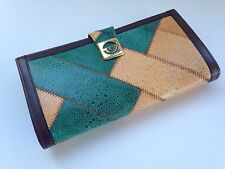 Women's Patchwork Genuine Leather Clutch Wallet Green Tan w Dark Brown Trim