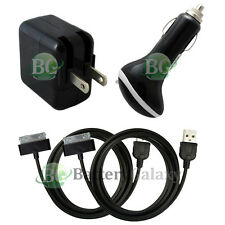 2 Black USB Cable+Car+Battery Wall AC Charger for Apple iPad 1 2 3 1st 2nd 3rd