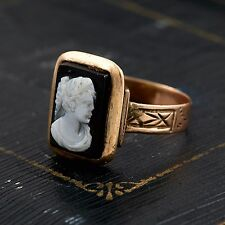 Antique Vintage Victorian 14k Rose Gold English Carved Shell Onyx Cameo Ring 5.5