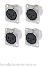 Neutrik NC3FD-L-1 (4 Pack) Female XLR Nickel Panel Mount Jacks FREE US SHIPPING