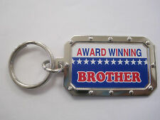 """Award Winning BROTHER Key Chain 1.5""""x2"""" Silver Tone NOS Rectangle"""