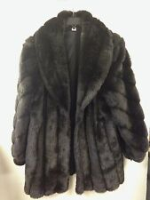 Women's Vintage Faux Fur Coat, Size XL, Pre-Owned, Black
