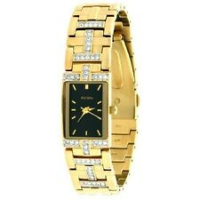 ELGIN GOLD TONE  WITH BLACK DIAL AND CRYSTAL EG1504 LADIES WATCH
