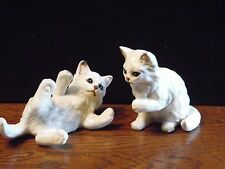 Vintage Pair Lefton White Cats Playful Kittens Blue Eyes Figurine  Japan H1513