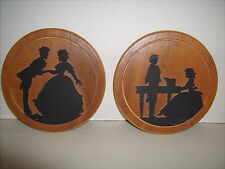 Vintage Americana Folk Art Pair Of Peter Watson Studio Wood Carved Silhouettes