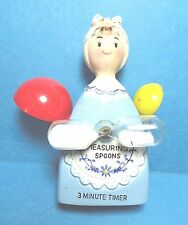 """Vintage """"Lady"""" Minute Sand Egg Timer and Measuring Spoon Holder Free Shipping"""