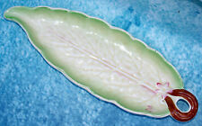 Vintage Minton Majolica  Pottery Long Green Leaf Dish Well marked